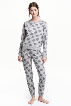 Pyjama à motif - Gris/cœur  - | H&M BE 1