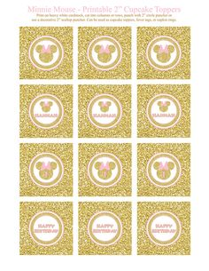 Gold and Pink Minnie Mouse Birthday Party Printables by Honeyprint