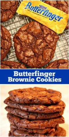 Recipe for Butterfinger Brownie Cookies. These are chocolate cookies with Butterfinger candy bar mixed in. Brownie Cookies, Chocolate Chip Cookies, Cookie Dough Cake, Cake Cookies, Butterfinger Cookies, Cupcakes, Oatmeal Cookies, Yummy Cookies, Chocolate Chips