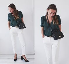 More looks by Magna G.: http://lb.nu/magna  #chic #elegant #street #emerald #fall #autumn #green #blackandwhite #blockheels