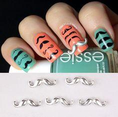 5Pcs 3D Nail Nagel Sticker Aufkleber Nail Art Dekor Cute Farbig Schnurrbart