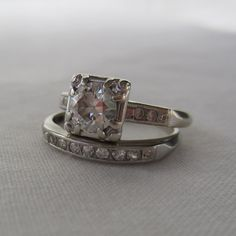 Deposit. RESERVED. Art Deco Diamond Engagement Ring. Wedding Band. Transitional Cut Diamond. Addy on Etsy.