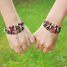 New-Fashion-Summer-Vintage-Unisex-Key-Leather-Bracelet-Jewelry-Gift-Hot