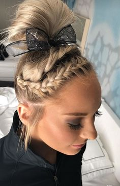 Mykayla Skinner - University of Utah gymnasticsYou can find Gymnastics hair and more on our website.Mykayla Skinner - University of Utah gymnastics Athletic Hairstyles, Sporty Hairstyles, Braided Bun Hairstyles, Updo Hairstyle, Cute Cheer Hairstyles, Wedding Hairstyles, School Hairstyles, Braided Buns, Princess Hairstyles