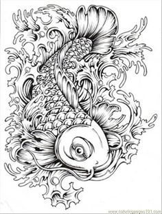 Free Japanese Koi Fish Coloring Pages For Adult Printables