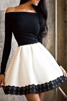 Sale Fancy Dresses With Sleeves Contrast Long Sleeve Lace Trim Skater Dress White Off Shoulder Dress, White A Line Dress, White Long Sleeve Dress, Lace Dress With Sleeves, Dress Lace, Lace Maxi, Cap Sleeves, Ruffle Blouse, Pretty Dresses