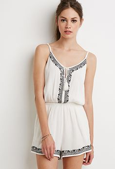 Embroidered Cami Romper | Forever 21 - 2000154865