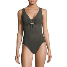 Karla Colletto Swim One-Piece Lace-Up Swimsuit ($290) ❤ liked on Polyvore featuring swimwear, one-piece swimsuits, underwire swim bra, low-back one-piece bathing suits, swim wear, one piece swim suit and v neck one piece swimsuit