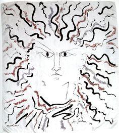 'Visage' by Jean Cocteau for Ascher Ltd., screen printed obn silk twill. Textile Forum Blog » Artists`Textiles 1940 – 1976