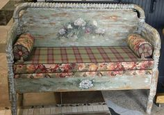 like this, but not like this  Garden Bench (repurposed Jenny Lind crib)