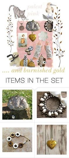"""palest pink and burnished gold"" by belinda-evans ❤ liked on Polyvore featuring art"