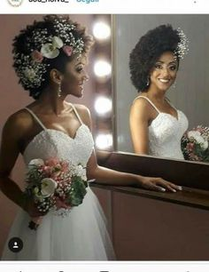 Just the flowers 2 Black Brides Hairstyles, Afro Wedding Hairstyles, Bridal Hair Updo, Natural Afro Hairstyles, Natural Hair Styles, Natural Hair Wedding, Wedding Hair Down, Boho Wedding Makeup, Wedding Beauty