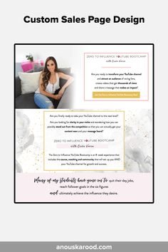 Custom Sales Page Design by Anouska Rood - for Erika Vieira's YouTube Bootcamp Feeling Overwhelmed, You Youtube, Page Design, Erika, Messages, Feelings, Scallops, Text Posts