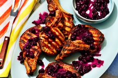 Grilled Pork Chops with Burst Blueberry Sauce Juicy Pork Chops, Grilled Pork Chops, Grilled Meat, Pork Recipes, Wine Recipes, Cooking Recipes, Blueberry Sauce, Grilled Vegetables, Pork