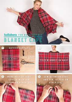DIY Blanket Cape 2019 DIY Blanket Cape Nothing says autumn like tried-and true plaid. This DIY fleece cape will help you transition seasons in style. The post DIY Blanket Cape 2019 appeared first on Scarves Diy. Sewing Hacks, Sewing Tutorials, Sewing Crafts, Sewing Projects, Sewing Patterns, Skirt Patterns, Dress Tutorials, Blanket Patterns, Coat Patterns