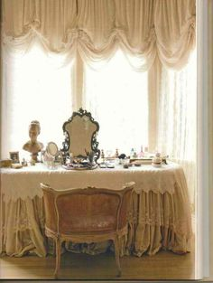 Dressing Table - Any dressing table worth its salt must be placed at a window so that light can fall evenly on your face when you apply your make-up!
