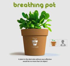 Breathing Pot by Jae-Han Song - it appears to breath and when it stops, it's time for watering | ‪#‎Horticool‬ ‪#‎ApartmentGardening‬ ‪#‎Gardening‬