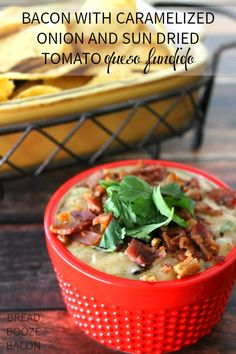 Bacon with Caramelized Onion and Sun Dried Tomato Queso Fundido | Bread Booze Bacon