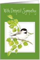 Deepest Sympathy, Chickadee, Bird Watercolor Collection Card by Greeting Card Universe. $3.00. 5 x 7 inch premium quality folded paper greeting card. Find Sympathy cards for everyone on your list at Greeting Card Universe. A picture is worth a thousand words, so why not send a photo Sympathy card this year? Allow Greeting Card Universe to handle all your Sympathy card needs this year. This paper card includes the following themes: Deepest Sympathy, Chickadee, and Bird Wate...
