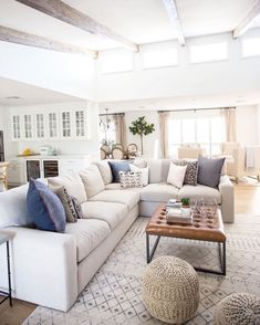 I like the neutral look with color accents. #familyroomideas #homedecor #neutral - living room