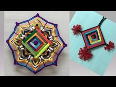 YouTube Mandala Rosa, Eye Mandala, Mandala Art, Adult Crafts, Diy And Crafts, Mobiles, God's Eye Craft, Crazy Block, Mandalas Drawing