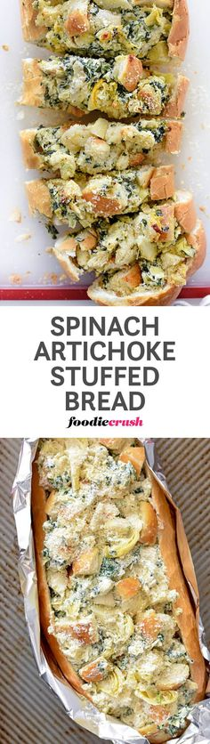 Garlicky chunks of bread are mixed with cream cheese, spinach, and artichoke hearts then loaded back into the shell and baked for a favorite appetizer. Fromage Cheese, Pan Relleno, Good Food, Yummy Food, Yummy Drinks, Artichoke Hearts, Food For Thought, Appetizer Recipes, Bread Appetizers