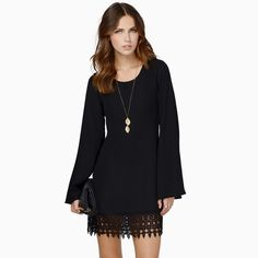 Платье кружево шифон Mini длинный рукав, женщины сдвиг вязка крючком подол черный белый Vestidos Femininosкупить в магазине Moda HomeнаAliExpress