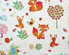 "Fox Fabric by Timeless Treasures | Woodland Animals Cotton Print - 1/2 m (19""). 100% Heavy Cotton.148cm ..."