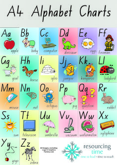 Eye catching alphabet posters that will brighten your classroom! A4 Alphabet Posters – colour background on each page, high resolution and fun clipart with bold letters in upper and lower case + word beginning with letter sound.