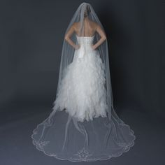 Gorgeous! Beaded Cathedral Length Wedding Veil with Rhinestones - Affordable Elegance Bridal -