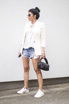 Fashion Landscape | One Teaspoon Bandit Shorts, Adidas Stan Smith Sneakers, Zara White Blazer, Erikahoc Bag