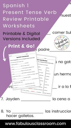 Do your students need some extra practice conjugating present tense regular and irregular Spanish verbs (including stem-changing verbs)? Maybe a back-to-school refresher at the start of Spanish II? These printable and digital worksheets are the perfect easy way to review -AR, -ER, and -IR verbs. Just print and go OR you can assign the ready-to-go Easel activity and have students complete this as a digital activity! Spanish Teaching Resources, Teaching Materials, Teacher Resources, Homeschooling Resources, Spanish Lesson Plans, Spanish Lessons, Present Tense Verbs, Lesson Plan Templates, Class Activities