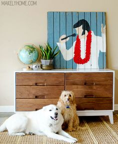 DIY Crate and Barrel Midcentury Modern Inspired Dresser via MakelyHome.com- painted with @Holly Alex Paint Trim and Door (in Extra High Gloss Bright White) and stained drawer fronts- TEXAS!!!