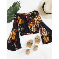 SheIn offers Bardot Fluted Sleeve Floral Print Random Blouse & more to fit your fashionable needs. Floral Print Design, Floral Prints, Boho Outfits, Outfits For Teens, Bardot, Long Sleeve Crop Top, Printed Blouse, Floral Blouse, Korean Fashion