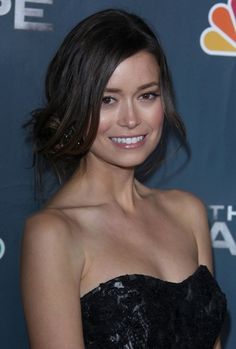 Summer Glaus side-swept, chignon hairstyle