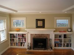shelves around fireplace | I Married a Tree Hugger: Our Updated Craftsman Style