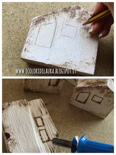 Bomboniere little house con materiale di riciclo per un matrimonioshabby - I colori di Laura Wood Projects That Sell, Scrap Wood Projects, Little White House, Little Houses, Wood Block Crafts, Wood Blocks, Diy Wood Shelves, Driftwood Crafts, Diy Wood Signs