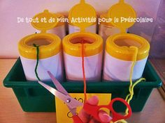 Everything and nothing: Activities for Preschool: DIY Yarn Organizer Great idea for the art center Diy Yarn Organizer, Yarn Organization, Classroom Organization, Classroom Ideas, Organizing Ideas, Classroom Management, Easy Preschool Crafts, Preschool Art, Preschool Activities