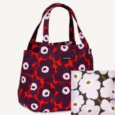 Marimekko – Canvas bags with patterns Marimekko Bag, Scandinavia Design, Canvas Bags, Display Design, Diaper Bag, Purses, Patterns, Flower, Vestidos