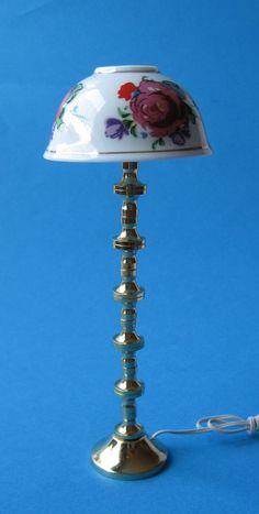 Stehlampe Porzellanschirm Puppenhaus Möbel Wohnzimmer Diele Minia | K10229 / EAN:4026179102297