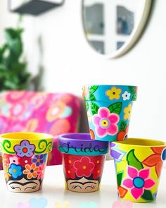 Potted Plants, Plant Pots, Pringles Can, Flower Pots, Flowers, Painted Pots, Creative Crafts, Clay, Canning