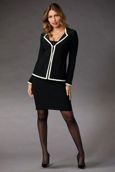 Knit Pencil Skirt, Pencil Skirt Outfits, Pencil Skirt Black, Pencil Skirts, Office Fashion Women, Womens Fashion For Work, Girl Fashion, Tights Outfit, Business Outfits