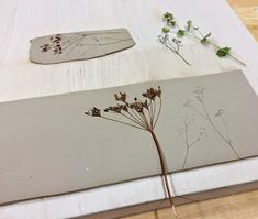 By pressing our collected plants into the wet clay, and then filling the resulting impression with dark glaze, a print of the plant appears.