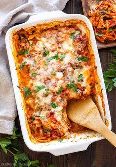 "Sweet Potato ""pasta"" Bake With Sweet Potatoes, Italian Turkey Sausage, Marinara Sauce, Baby Spinach, Part-skim Ricotta Cheese, Italian Seasoning, Kosher Salt, Freshly Ground Black Pepper, Part-skim Mozzarella Cheese, Shredded Parmesan Cheese"