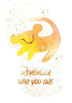 Watercolor disney - lion king remember who you are disney fan art watercolor alternative poster watercolor art nursery print nursery wall art Disney Fan Art, Disney Pixar, Walt Disney, Disney E Dreamworks, Disney Magic, Disney Movies, Punk Disney, Disney Characters, Disney Villains