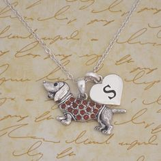 Dachshund Necklace with any custom initial // $9.98