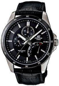 Casio Men's EF341L-1AV Black Leather Quartz Watch with Black Dial Casio. $82.90. Mineral Crystal. 44mm Case Diameter. Quartz Movement. 100 Meters / 330 Feet / 10 ATM Water Resistant. Save 39%!
