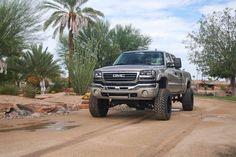 Lifted silver GMC Sierra #GMC #GeneralMotors #Trucks