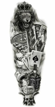 half sleeve tattoo designs and meanings half sleeve tattoo designs and meanings Full sleeve custom design tattoo lion / gambling / playing cards jack daniels wh… - Full Sleeve Tattoo Design, Half Sleeve Tattoos Designs, Full Sleeve Tattoos, Tattoo Designs And Meanings, Full Tattoo, Tattoo Ink, Tattoo Card, Man Arm Tattoo, Tattoo Drawings