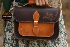 Handcraft vintage floral leather Carved Satchel shoulder bag /handbag | EverHandmade
